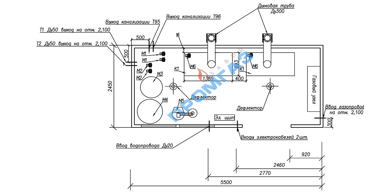Схема расположения оборудования ТКУ-300 с атмосферной горелкой
