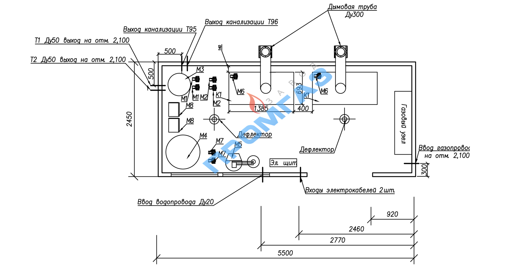 Схема расположения технологического оборудования ТКУ-300 с ГВС и атмосферной горелкой